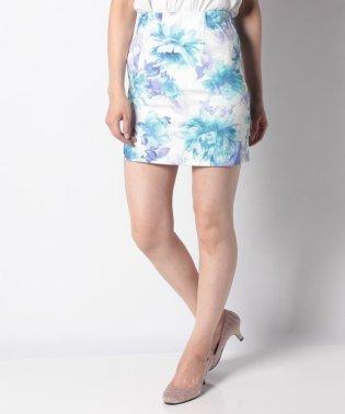 【Delyle noir】・ウォーターカラーフラワータイトスカート