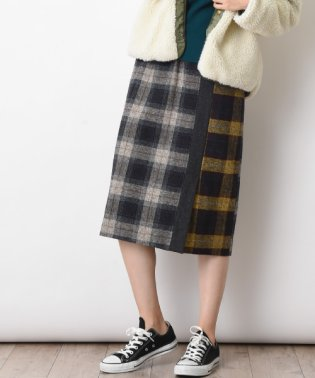 【basque】ツイードチェック切替スカート
