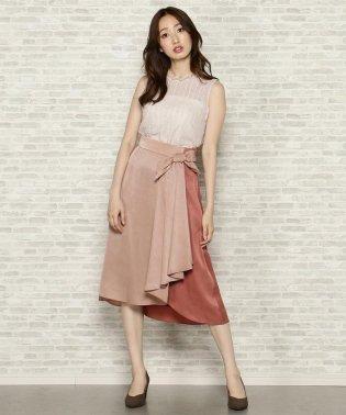 ピーチサテン配色スカート