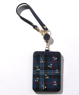 タータンチェックチェリー刺繍コードリール付きパスケース