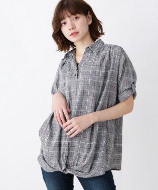 【WEB限定サイズ・05(3L)あり/2点セット/】裾ねじりスキッパーシャツ+タンクトップ