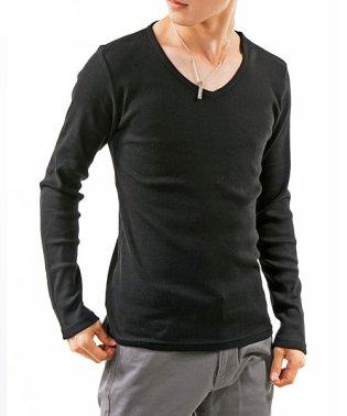 テレコ素材Vネック長袖ロングカットソーTシャツ