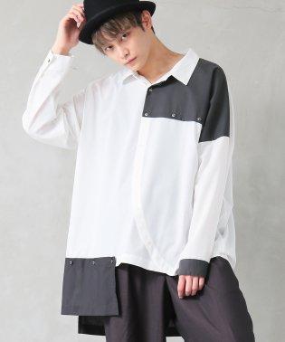 『kOhAKU変形デザイン配色アシメシャツ』