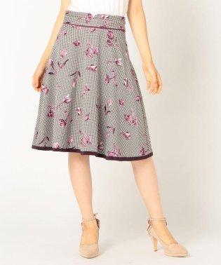 花柄配色スカート