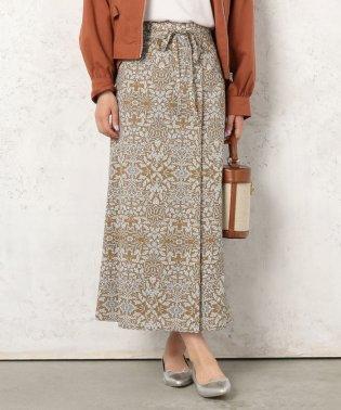 レトロ柄共リボンラップ風スカート