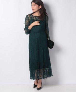 【ドレスライン】フラワーレース袖付きドレス