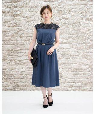 【ドレスライン】プチハイネックレース切り替えドレス