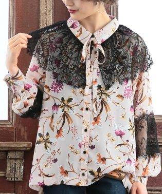 『somariリボン衿付き花柄レースブラウス』