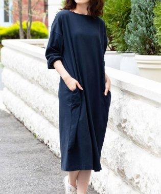 レディース 綿100%素材 ボリューム袖 ロング丈 ワンピース