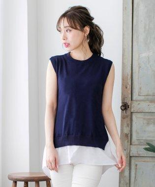 レイヤード風裾シャツ切替ノースリーブニットトップス/510236