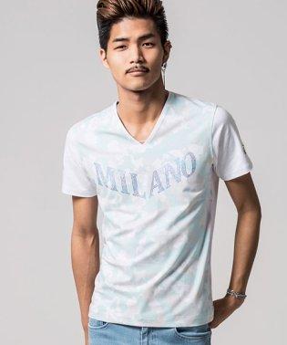 VIOLA【ヴィオラ】ラインストーン付き総柄Vネック半袖Tシャツ