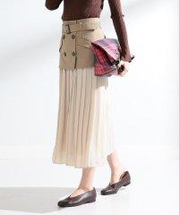 Ray BEAMS / トレンチ レイヤー プリーツ スカート