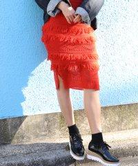 カギ針編みフリンジタイトニットスカート