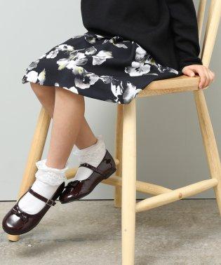 【ROPE' PICNIC KIDS】水彩フラワープリントタックスカート