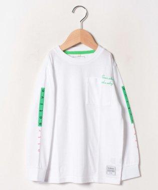 【キッズ】袖ロゴプリント胸ポケロンT(120~160cm)