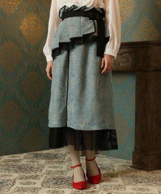 Plumラップベルト付きジャガード×メッシュスカート