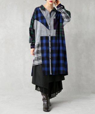 『kOhAKUパッチワークデザインロングシャツ』