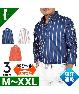 【COMON GOLF】吸収速乾素材ストライプ柄長袖ドライゴルフポロシャツ(CG-LP819N)