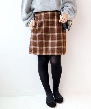 チェックメルトン台形スカート◆