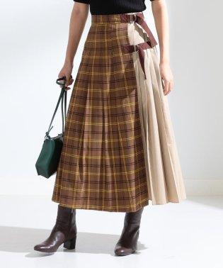 Ray BEAMS / キリカエ チェック ラップスカート