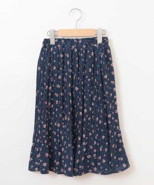[140-150]フラワープリントプリーツスカート