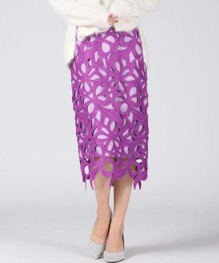大柄フラワーレースタイトスカート