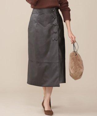 カバーボタンフェイクレザースカート