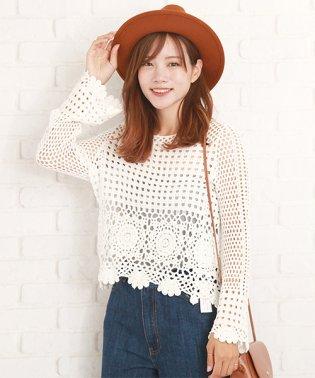 フェミニンサマーセーター韓国ファッションレディース夏用涼しいニット白【vl-5205】【S/S】