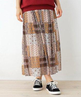 オリエンタルパッチワーク柄スカート