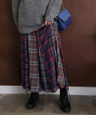 【KBF】MIXチェックフレアスカート