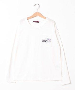 ワンポイント刺しゅうポケットつきTシャツ
