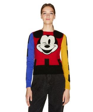 【Disney(ディズニー)コラボ】配色ミッキーマウスニット・セーター
