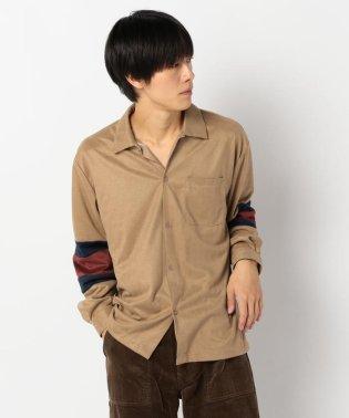 【WEB限定】袖切替 スエード調 シャツ