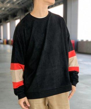 【WEB限定】袖配色 スエード調 ビッグシルエット プルオーバー