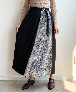 パイソンレイヤードラップロングスカート