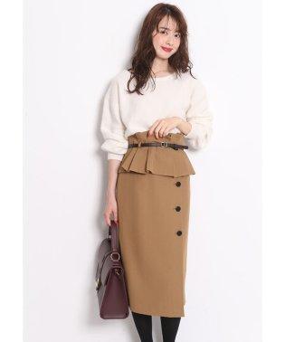 ベルト付ぺプラムタイトスカート