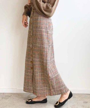 グレンチェック柄フロントボタンロングスカート