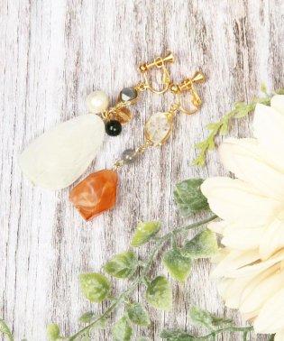 マーブルパーツ オレンジ×ホワイトイヤリング
