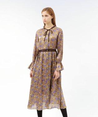 プラチナサテン フラワー ドレス