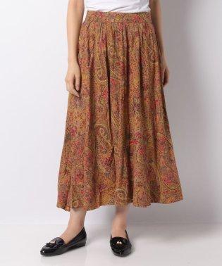 【セットアップ対応商品】裾切替大柄ペイズリープリントバックウエストゴムギャザースカート