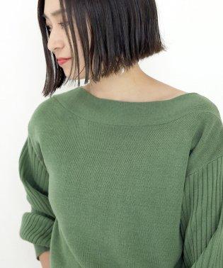 袖リブゴム編みボートネックプルオーバー