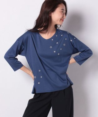 星刺繍七分袖Tシャツ