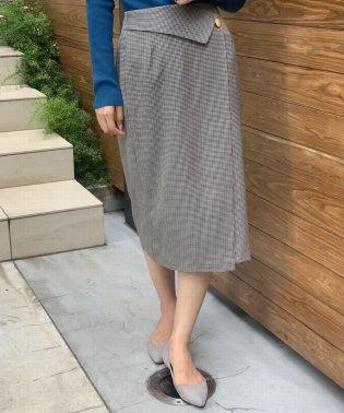 チェックアシメタイトスカート