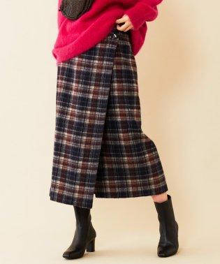 BY∴ チェックシャギーラップスカート