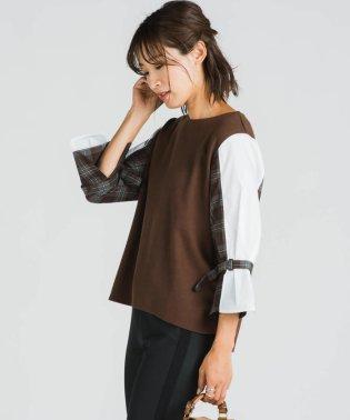 異素材シャツ袖プルオーバー