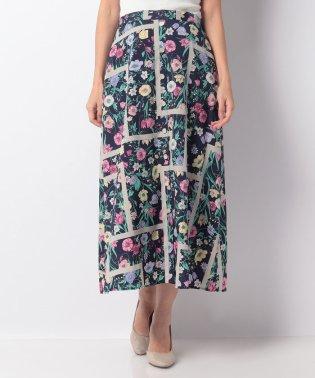 花柄前ボタンAラインスカート