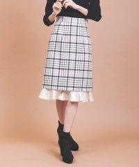裾フリルチェックタイトスカート