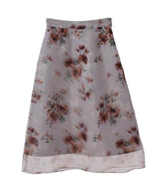 【美人百花11月号掲載】レイヤードオーガンジー花柄スカート