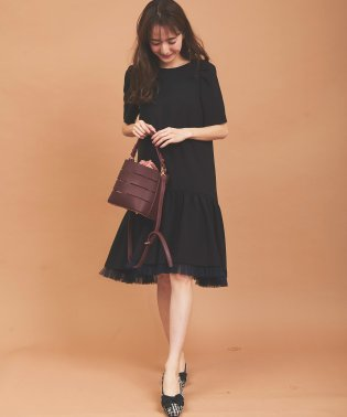 【美人百花10月号掲載】裾チュール二重織Aラインワンピース