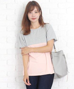 ツートンカラーTシャツ ファッション レディース ふんわり ポップ 動きやすい オシャレ【vl-5212】【S/S】